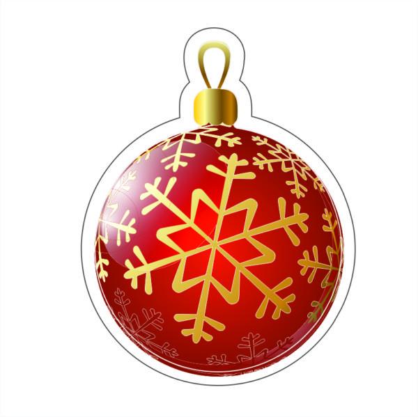 Adhesivo Bola de navidad roja estrellas.