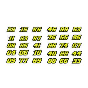 Adhesivo Números de moto amarillos.