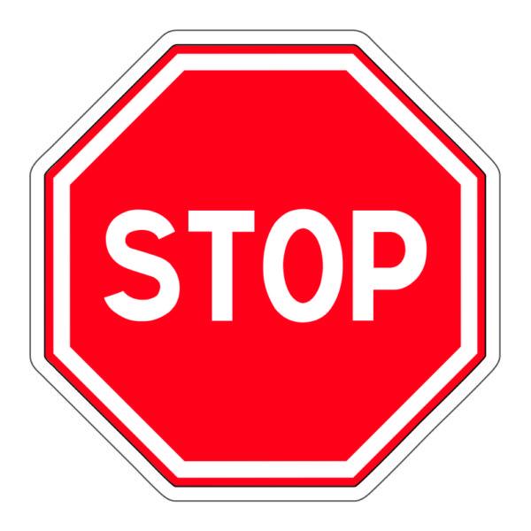 Adhesivo Prohibido pasar Stop.