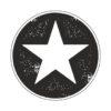 Adhesivo estrella Jeep fondo negro.