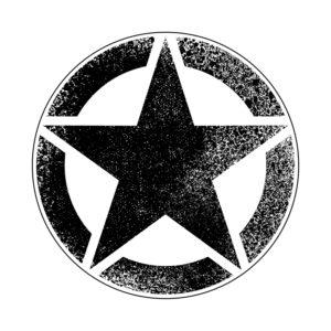 Adhesivo estrella Jeep negra vintage.