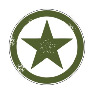 Adhesivo estrella Jeep verde fondo blanco.