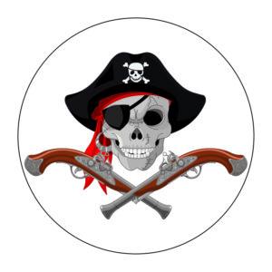 Adhesivo calavera pirata.